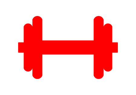 Weights symbol icon - red realistic dumbbell silhouette, isolated - vector illustration Иллюстрация