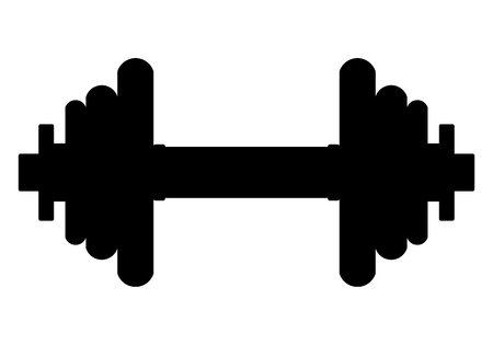 Weights symbol icon - black realistic dumbbell silhouette, isolated - vector illustration