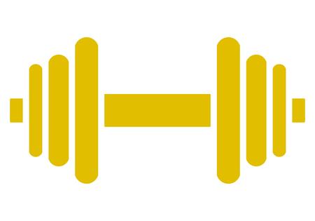 Weights symbol icon - golden minimalist dumbbell, isolated - vector illustration