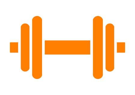 Weights symbol icon - orange minimalist dumbbell, isolated - vector illustration Illustration