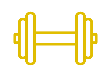 Weights symbol icon - golden realistic dumbbell outline, isolated - vector illustration Illusztráció