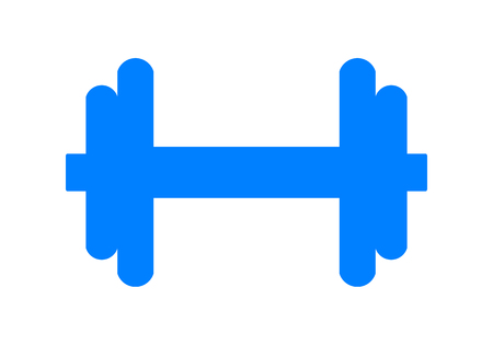 Weights symbol icon - blue realistic dumbbell silhouette, isolated - vector illustration