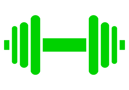 Weights symbol icon - green minimalist dumbbell, isolated - vector illustration