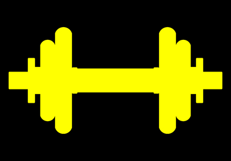 Weights symbol icon - yellow realistic dumbbell silhouette, isolated - vector illustration
