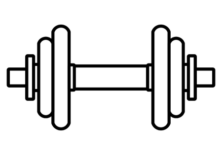 Weights symbol icon - black realistic dumbbell outline, isolated - vector illustration