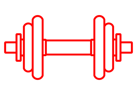 Weights symbol icon - red realistic dumbbell outline, isolated - vector illustration Illustration