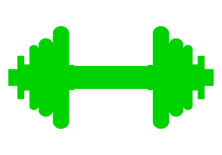 Weights symbol icon - green realistic dumbbell silhouette, isolated - vector illustration