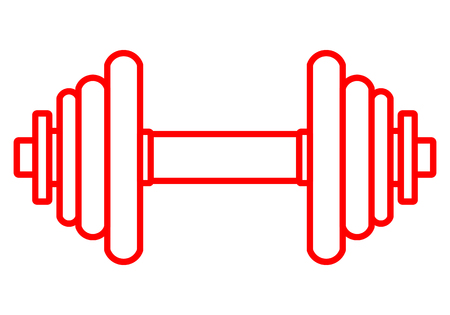 Weights symbol icon - red realistic dumbbell outline, isolated - vector illustration Stock Vector - 117661958