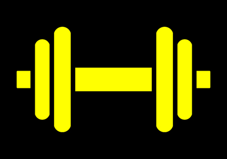 Weights symbol icon - yellow minimalist dumbbell, isolated - vector illustration