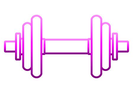Icono de símbolo de pesos - contorno de mancuernas realista degradado púrpura, aislado - ilustración vectorial