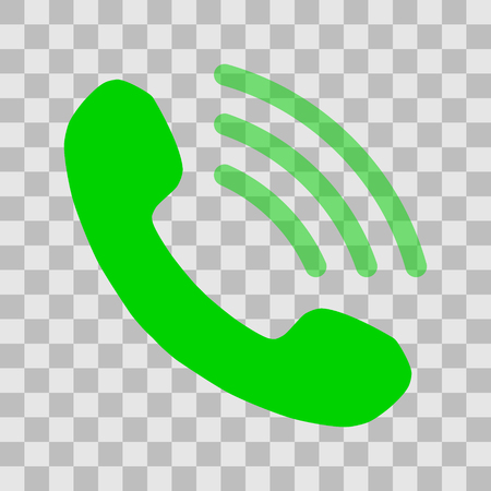 Phone with transparent waves symbol icon - green simple, isolated - vector illustration