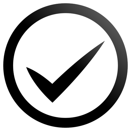 Check marks - black gradient, tick icon inside of circle - vector illustration