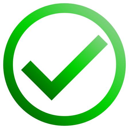 Segni di spunta - gradiente verde, icona di spunta all'interno del cerchio - illustrazione vettoriale Vettoriali