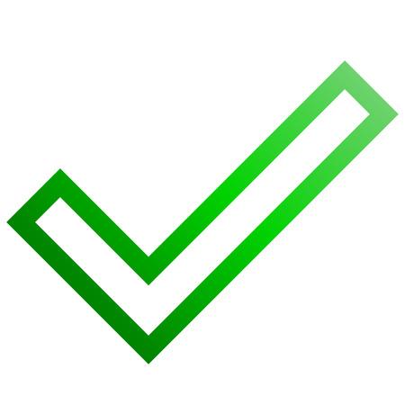 Coches - icône de tique contour dégradé vert - illustration vectorielle