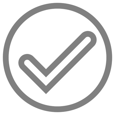 Check marks - gray tick icon inside of circle outline - vector illustration