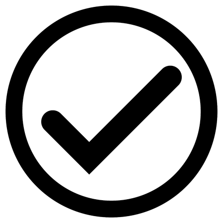 Check marks - black tick icon inside of circle - vector illustration