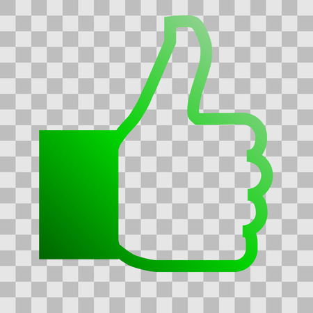 Like symbol icon - green gradient outline, isolated - vector illustration