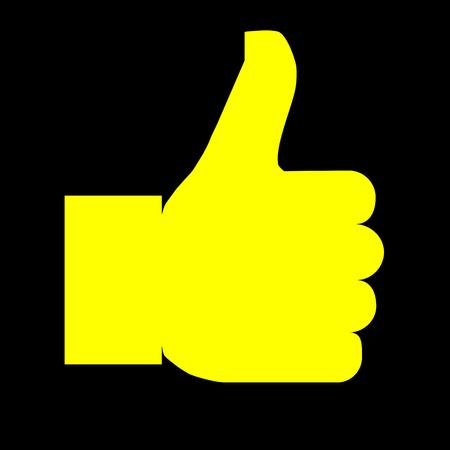 Like symbol icon - yellow simple, isolated - vector illustration Иллюстрация