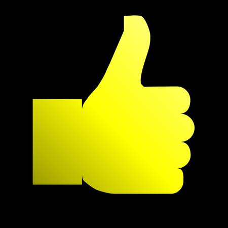 Like symbol icon - yellow gradient, isolated - vector illustration