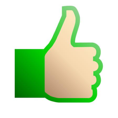 Like symbol icon - green gradient outline, isolated - vector illustration Reklamní fotografie - 124996012