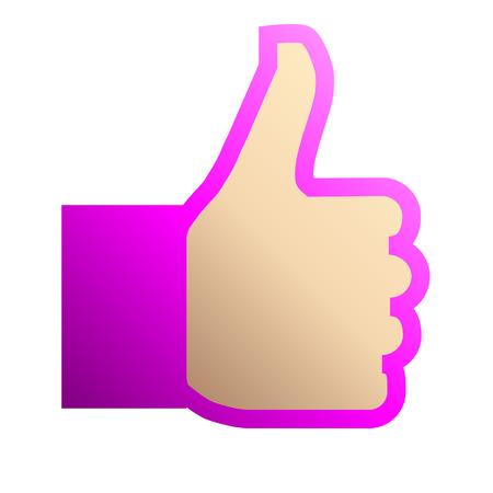 Like symbol icon - purple gradient outline, isolated - vector illustration  イラスト・ベクター素材