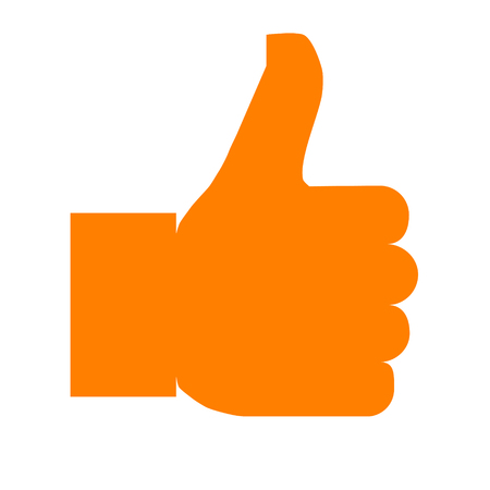 Like symbol icon - orange simple, isolated - vector illustration Reklamní fotografie - 124996017