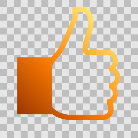 Like symbol icon - orange gradient outline, isolated - vector illustration Ilustração