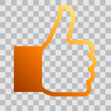 Like symbol icon - orange gradient outline, isolated - vector illustration Illustration