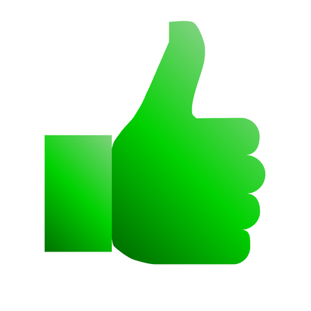 Like symbol icon - green gradient, isolated - vector illustration
