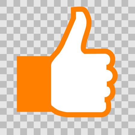 Like symbol icon - orange simple outline, isolated - vector illustration