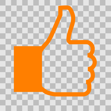 Like symbol icon - orange simple outline, isolated - vector illustration Reklamní fotografie - 124996036