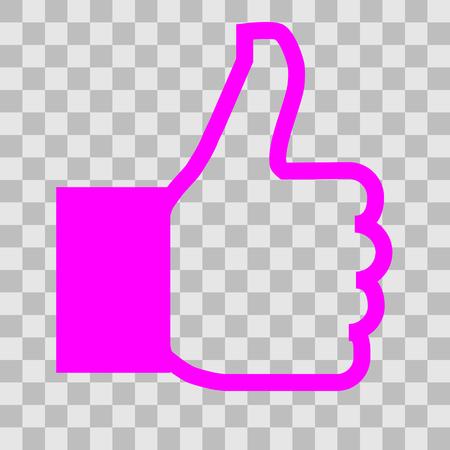 Like symbol icon - purple simple outline, isolated - vector illustration Ilustração