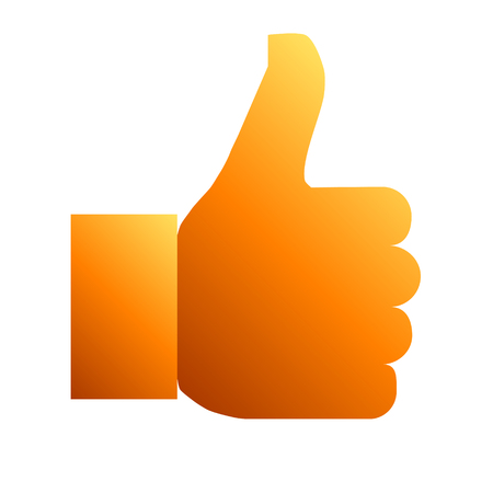 Like symbol icon - orange gradient, isolated - vector illustration