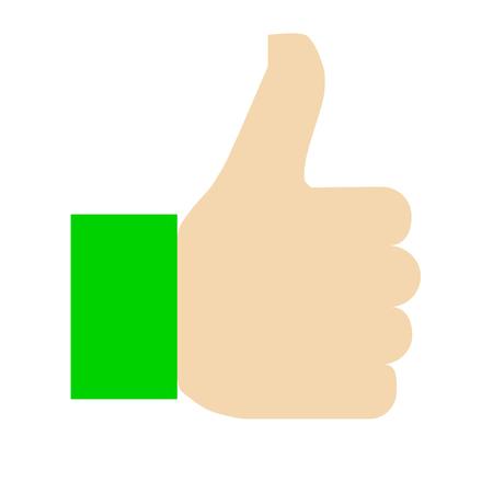 Like symbol icon - green simple, isolated - vector illustration Illustration