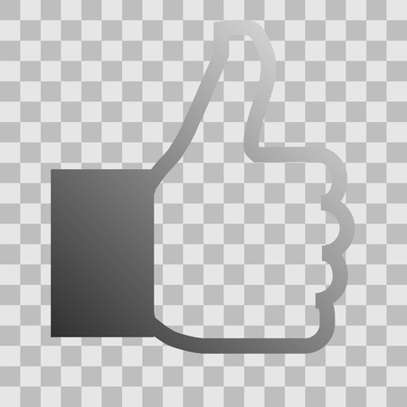 Like symbol icon - gray gradient outline, isolated - vector illustration