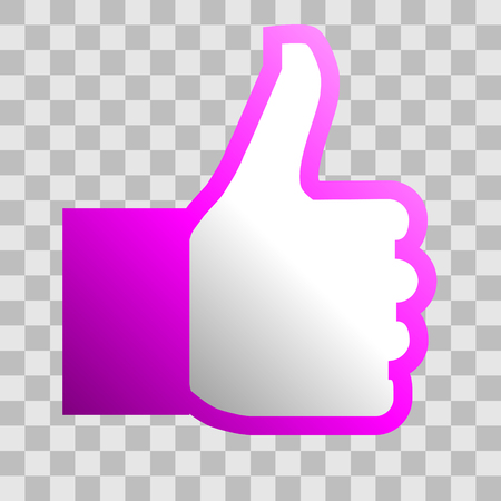 Like symbol icon - purple gradient outline, isolated - vector illustration Illustration