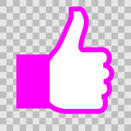Like symbol icon - purple simple outline, isolated - vector illustration Illustration