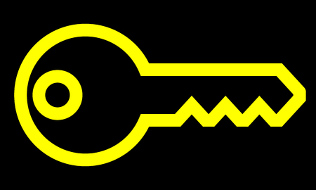 Key symbol icon - yellow simple outline, isolated - vector illustration