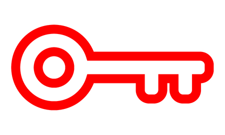 Key symbol icon - red simple outline, isolated - vector illustration