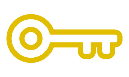 Key symbol icon - golden simple outline, isolated - vector illustration Illustration