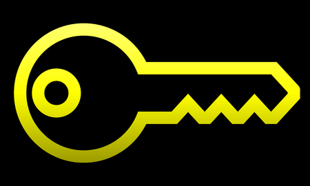 Key symbol icon - yellow gradient outline, isolated - vector illustration Illustration