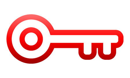 Key symbol icon - red gradient outline, isolated - vector illustration