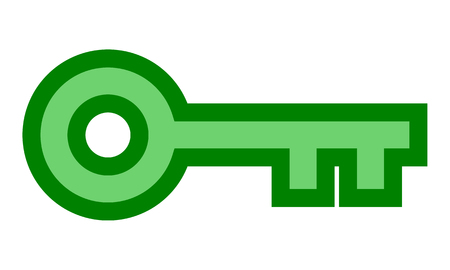 Key symbol icon - green with outline, isolated - vector illustration
