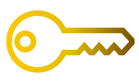 Key symbol icon - golden gradient outline, isolated - vector illustration
