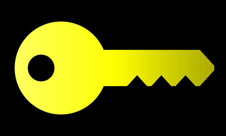 Key symbol icon - yellow gradient, isolated - vector illustration Illustration