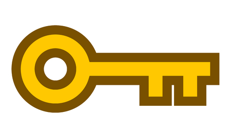 Key symbol icon - golden with outline, isolated - vector illustration Illustration