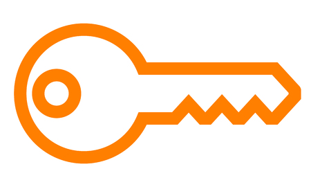 Key symbol icon - orange simple outline, isolated - vector illustration
