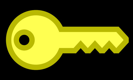 Key symbol icon - yellow with outline, isolated - vector illustration