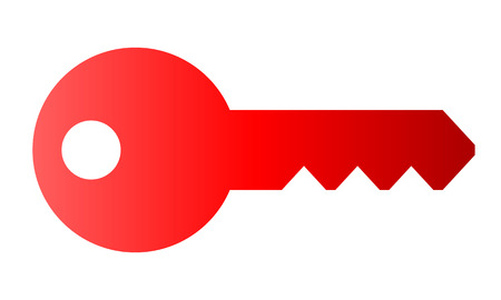 Key symbol icon - red gradient, isolated - vector illustration