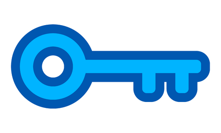 Key symbol icon - blue with outline, isolated - vector illustration Illustration